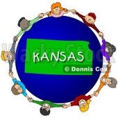 Royalty-Free (RF) Clipart Illustration of Children Holding Hands In A Circle Around A Kansas Globe © Dennis Cox #62991