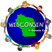 Royalty-Free (RF) Clipart Illustration of Children Holding Hands In A Circle Around A Wisconsin Globe © Dennis Cox #62992