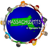 Royalty-Free (RF) Clipart Illustration of Children Holding Hands In A Circle Around A Massachusetts Globe © Dennis Cox #62993
