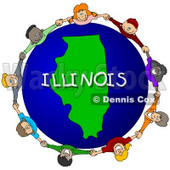 Royalty-Free (RF) Clipart Illustration of Children Holding Hands In A Circle Around An Illinois Globe © Dennis Cox #62994