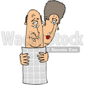 Man and Woman Reading the Local Newspaper Together Clipart Picture © djart #6300