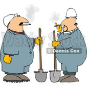 Two Workers Smoking Cigarettes While Holding Shovels Clipart Picture © djart #6301