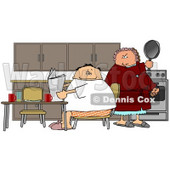 Angry Wife Preparing to Hit Her Lazy Husband with a Cooking Pan Clipart Picture © djart #6302