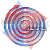 Red, White, Blue Spiral Arrow Clipart Picture © djart #6303