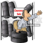 Salesman Trying to Sell Tires On Clearance Clipart Picture © Dennis Cox #6305