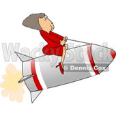 Successful Businesswoman Riding a Rocket Clipart Picture © djart #6307