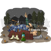Two Men Camping Together Under the Starry Night Sky Clipart Illustration © Dennis Cox #6310