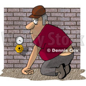 Plumber Man Checking an Air Meter and Valve Clipart Illustration © Dennis Cox #6311