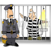 Guard with Keys Standing Beside a Prisoner in Jail Cell Clipart Picture © djart #6313