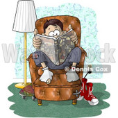 Teenage Boy Sitting on a Living Room Chair While Reading a Book Clipart Picture © djart #6315