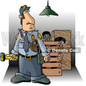 Security Guard Checking Property at Night for Criminals Clipart Picture © Dennis Cox #6316