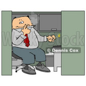 Businessman Smoking a Cigarette In His Cubicle Clipart Picture © djart #6317