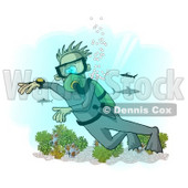 Scuba Diver with Sharks in the Deep Sea Clipart Illustration © Dennis Cox #6319