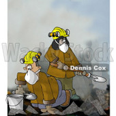 Urban Search and Rescue (USAR) Team Digging Through a Pile of Fallen Debris Clipart Illustration © djart #6320