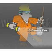 Sewer Worker Walking Through a Dark Tunnel Clipart Illustration © Dennis Cox #6321