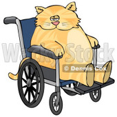 Chubby Orange Cat Sitting in a Wheelchair in a Hospital Clipart Picture © Dennis Cox #6323
