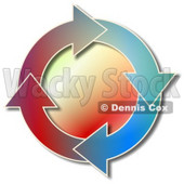 Colorful Recycle Arrows Moving in a Circular Clockwise Motion Clipart Picture © Dennis Cox #6326