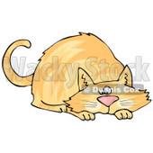 Orange Cat Crouching While Preparing to Pounce on Something Clipart Picture © djart #6327