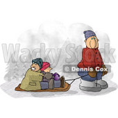 Dad Pulling Kids On a Snow Sled Clipart © Dennis Cox #6331