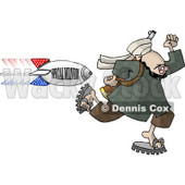 "Arab Terrorist Man Running from an American Bomb titled ""SPECIAL DELIVERY"" Clipart Illustration © Dennis Cox #6332"