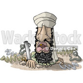 Osama Bin Hidin' Clipart Illustration © Dennis Cox #6334