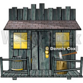 Clipart Of An Old Creepy Wood Shed or Western Saloon Building - Royalty Free Illustration © Dennis Cox #6335