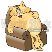 Anthropomorphic Cat Napping On a Recliner Chair Clipart Picture © djart #6337