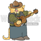 Anthropomorphic Cowboy Cat Playing Country Music On an Acoustic Guitar Clipart Picture © Dennis Cox #6339