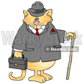 Gentlemanly Cat in a Jacket and Hat, Holding a Cane and Briefcase Clipart © Dennis Cox #6498