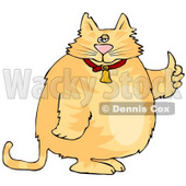 Chubby Orange Cat in a Bell Collar Giving the Thumbs Up Clipart © djart #6499