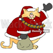 Chubby Orange Santa Clause Cat Waving Clipart © Dennis Cox #6500