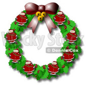 Christmas Wreath With Holly, Bells, a Bow and Santas Clipart © djart #6501