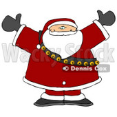 Santa Claus in Full Uniform and Bells, With His Arms Up Clipart © djart #6504