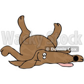 Royalty-Free (RF) Clipart Illustration of a Brown Spotted Dog Playing Dead © Dennis Cox #66805