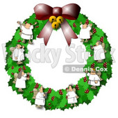 Christmas Wreath With Choir Angels Clipart Illustration © djart #6681