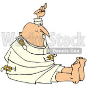Royalty-Free (RF) Clipart Illustration of a Bald Man Holding Up One Arm While Restrained In A Straitjacket © Dennis Cox #67129