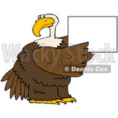 Royalty-Free (RF) Clipart Illustration of a Bald Eagle Holding Up A Blank White Sign © Dennis Cox #67132