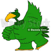 Royalty-Free (RF) Clipart Illustration of a Large Green Bird Dancing © Dennis Cox #67134