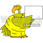 Royalty-Free (RF) Clipart Illustration of a Large Yellow Bird Holding up a Blank Sign © Dennis Cox #67136
