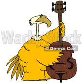 Royalty-Free (RF) Clipart Illustration of a Large Yellow Bird Playing a Bass © Dennis Cox #67137