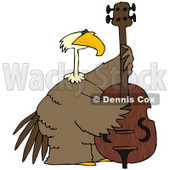 Royalty-Free (RF) Clipart Illustration of a Bald Eagle Playing A Double Bass © Dennis Cox #67138