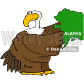 Royalty-Free (RF) Clipart Illustration of a Bald Eagle Holding A Green State Of Alaska © Dennis Cox #67139