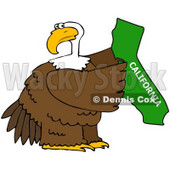 Royalty-Free (RF) Clipart Illustration of a Bald Eagle Holding A Green State Of California © Dennis Cox #67140