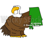 Royalty-Free (RF) Clipart Illustration of a Bald Eagle Holding A Green State Of Alabama © Dennis Cox #67142
