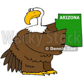 Royalty-Free (RF) Clipart Illustration of a Bald Eagle Holding A Green State Of Arizona © Dennis Cox #67143