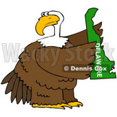 Royalty-Free (RF) Clipart Illustration of a Bald Eagle Holding A Green State Of Delaware © Dennis Cox #67144