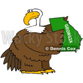 Royalty-Free (RF) Clipart Illustration of a Bald Eagle Holding A Green State Of Georgia © Dennis Cox #67145