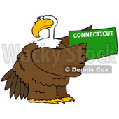 Royalty-Free (RF) Clipart Illustration of a Bald Eagle Holding A Green State Of Connecticut © Dennis Cox #67146