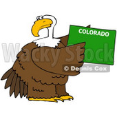 Royalty-Free (RF) Clipart Illustration of a Bald Eagle Holding A Green State Of Colorado © Dennis Cox #67147