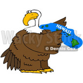 Royalty-Free (RF) Clipart Illustration of a Bald Eagle Holding A Blue State Of Hawaii © Dennis Cox #67148